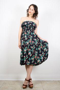 Vintage Hippie Dress 1970s 70s Sundress Black Floral Dress Strapless Ruffle Tiered Dress Boho Dress Smocked Prairie Dress S Small M Medium #vintage #etsy #70s #1970s #hippie #sundress #midi #dress #floral #strapless by ShopTwitchVintage