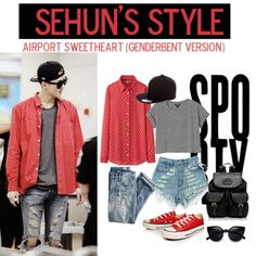 sehun airport fashion, genderbent version ~ #exo