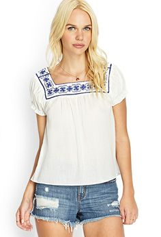Embroidered Cotton Blouse | FOREVER21 - 2000062887