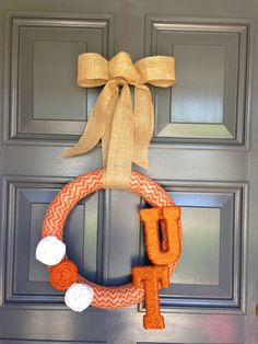 UT University of Texas Burlap Chevron Wreath with Jute Wrapped Letters - Football College on Etsy, $38.00