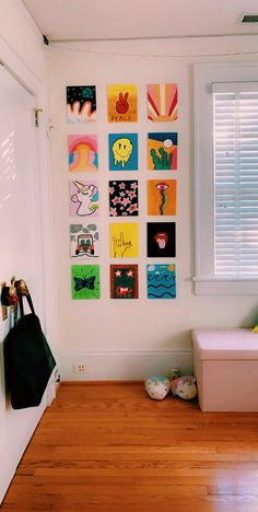 Did this during quarantine! Great way to spend your time! They aren't difficult paintings! Simple Canvas Paintings, Easy Canvas Art, Small Canvas Art, Mini Canvas Art, Cute Paintings, Diy Canvas, Paintings Tumblr, Indie Room Decor, Cute Room Decor