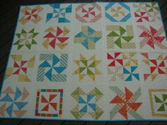 Pinwheel Sampler quilt, a brighter pic, outside. by Pink for me, via Flickr