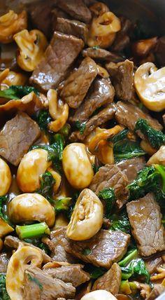 ginger beef & mushroom stir fry