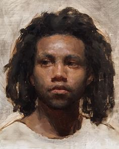 """Jamaal"" - Patrick Byrnes, oil on canvas {figurative #impressionist art male head dreads african-american black man face portrait cropped texture painting #loveart} patrickbyrnespaintings.com"
