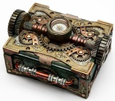 Steampunk Box with Compass: Steampunk Gifts: FairyGlen.com