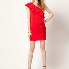One shoulder red ruffle dress by Warehouse at ASOS