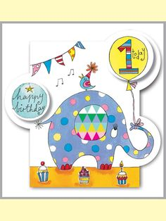 Rachel Ellen card - happy birthday - age 1 elephant
