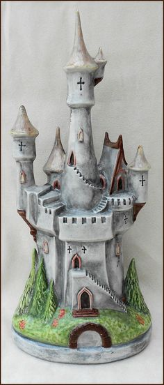 FANTASY HAND PAINTED & GLAZED ONE OF A KIND CERAMIC CASTLE ORNAMENT
