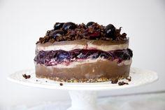 tarta chocolate cerezas cremosa sin lacteos