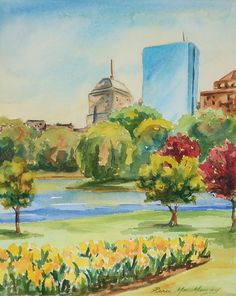 Boston Public Garden in Spring 8x10 original by MacMurrayDesigns, $300.00