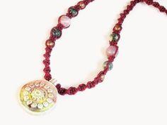Evil eye necklace - ceramic raku glaze pendant, burgundy hemp macrame, purple & grey jasper, copper beads - boho necklace, hippie necklace - Liminal Horizons - liminalhorizons