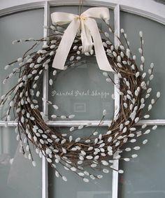 THE ORIGINAL Faux Pussy Willow Spiral Wreath/ Rustic Spring Wreath/ Spring Wedding Decor/ Nursery Decor