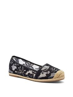 On every fashion followers' style radar: the Lacie Espadrille from Victoria's Secret. Rendered in the most feminine fabric and accented with a jute-wrapped sole. This resort-ready flat will be a mainstay in your casual shoe collection.