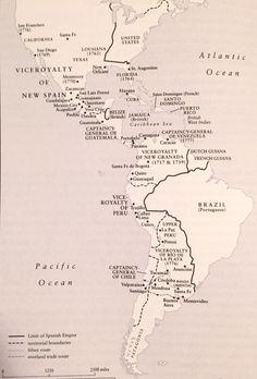 Mapa del Imperio Español en América Planer, Maps, Spanish, Geography, War, First Car, Old Maps, World History, Empire
