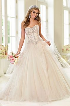 Tulle over buttery soft satin ball gown wedding dress by Stella York, Spring 2015