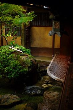 Water feature in zen garden . Sumiya, Kyoto, Japan