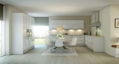 Kitchen, White Wooden Floor Flower Vase Dinning Table Dinning Chairs Kitchen Set Chrome Single Hole Faucet Carpet Painting And Concrete Lamp ~ Elegant Traditional Kitchen Design: Adopting Pretty Nordic Styles