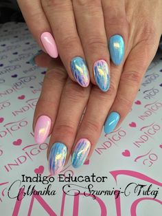 Folia Mirror Effect Syrenka + Efekt Syrenki + Gel Brush Maybe Baby & Lazy Sunday by Monika Szurmiej Tutaj Indigo Educator #nails #nail #mermaid #effect #syrenka #foil #magic #powder #pink #omg #amazing