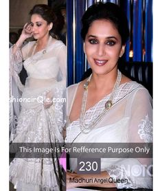 Bollywood Designer Madhuri White Angel Party Wear Saree