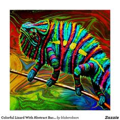 Colorful Lizard With Abstract Background Poster