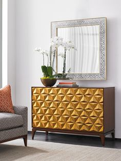 TAKE FIVE Broadway Faceted Hall Chest with Gold Leaf Front and Zebrano Veneers by Lexington at Fisher Home Furnishings Unique Furniture, Luxury Furniture, Furniture Design, Art Furniture, Furniture Projects, Luxury Dining Room, Dining Room Design, Hall Chest, Best Interior