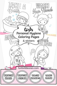 Girls Personal Hygiene Coloring Pages & Stickers (Free Printable) - Fun for Little Ones,