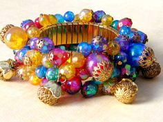 Vintage Multi Color Iridescent Beaded Cha Cha ~ gorgeous♥