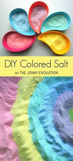 Easy DIY Colored Salt for Sensory Fun + Rainbow Salt Sensory Bin