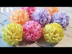 Fluffy balls of ribbon hair Bands Flowers Ribbon Art, Diy Ribbon, Ribbon Crafts, Flower Crafts, Grosgrain Ribbon, Fabric Flower Brooch, Organza Flowers, Felt Flowers, Fabric Flowers