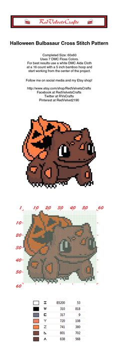 Free Halloween Bulbasaur Cross Stitch Pattern #pokemon #pokemongo #crossstitch…