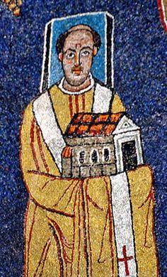 Papa Pascual I (814-824) en la basílica de Santa Presseda, Roma