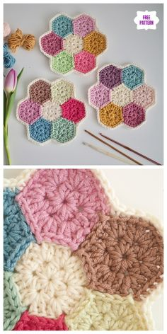 Crochet Coasters Hexagon Granny Squares 55 New Ideas Hexagon Crochet Pattern, Crochet Hexagon Blanket, Crochet Potholders, Crochet Blocks, Crochet Stitches Patterns, Crochet Chart, Crochet Motif, Crochet Doilies, Easy Crochet