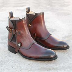 Handmade Men Double Shade Classy Ankle Boots, Brown Genuine Leather Dress Boots - Boots