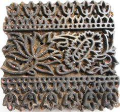 Vintage Indian Collectible Hand Carved Wooden Textile Stamp Print Block Used For Printing Fabrics now available as Organic Green Hom by MatureSourcing on Etsy