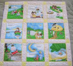 Story book panel quilt. Pages cut apart and sashed. Quilting is done by stitching in the ditch. Pinner hand quilted around features in each picture block.