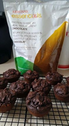 "Yummy chocolate muffins. Made with only 5 ingredients. 3 scoops of Arbonne Chocolate Protein Powder 1 Tbs Cocoa 1 Tsp baking powder 1/4 cup egg whites 1/2 cup almond milk Mix and bake at 350 for 20-15 mins. Makes 4 per batch. ""Like"" my FB page at Surshae Arbonne Independent Consultant. Consultant ID 21565488"