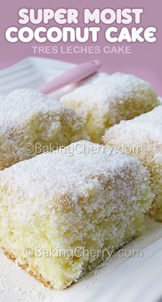 This Tres Leches Coconut Cake is made with a soft and fluffy sponge cake, soaked in a sweet mix of 3 kinds of milk, including coconut milk. The cake a. - Coconut About Coconut Sponge Cake, Coconut Cakes, Lemon Cakes, Vanilla Sponge, Vanilla Cake, Easy Desserts, Dessert Recipes, Coconut Milk Recipes, Best Moist Coconut Cake Recipe