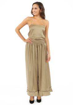 Yves Saint Laurent  Bronze Silk Sleeveless Jumpsuit