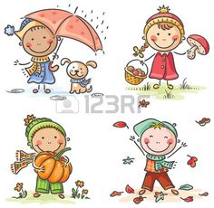 Happy little kids' autumn activities Art Drawings For Kids, Drawing For Kids, Cartoon Drawings, Cute Drawings, Art For Kids, School Cartoon, Cartoon Kids, Cute Cartoon, Kids Vector
