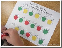 Growing Kinders--she& got several great ideas for apple themed center activities. You could easily do pumpkin or leaf themed versions too! Preschool Apple Theme, Apple Activities, Fall Preschool, Teaching Kindergarten, Math Activities, Preschool Activities, Teaching Ideas, Kindergarten Apples, Preschool Apples