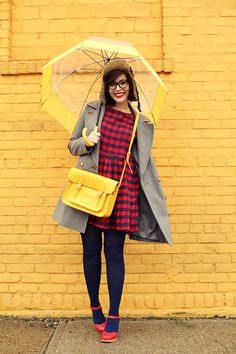 "Lookmatic ""FDR"" frames (c/o), Express piped coat (currently 40% off), ASOS plaid smock dress, Bobby's hat, Swedish Hasbeens (c/o), Cambridge Satchel, Hunter umbrella."