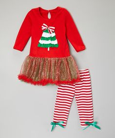 Take a look at this Red Holiday Tree Tutu Dress & Pants - Infant, Toddler & Girls on zulily today!