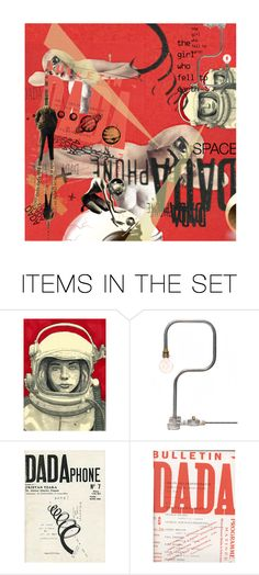 """She told her DADA she wanted to be an astronaut"" by sharmarie ❤ liked on Polyvore featuring art, DADA, SeeingDouble and dadaart"