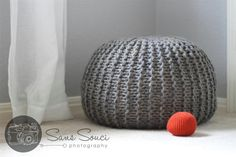$5.40 to but the knitting pattern for these pouf's, but I don't think I'm skilled or patient enough to make it.  Pouf Poof Knitting Pattern Newborn Photo Prop, Ottoman, Footstool, Home Decor, Pillow, Bean Bag
