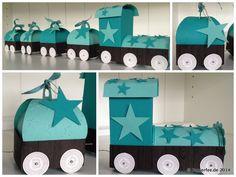 Stampin Up, Baby, Zug, Lokomotive, Jade und Bermudablau, Sterne, Thinlits Formen Zierschachtel für Andenken