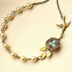 Robin's Nest Amazonite Pearl and Vintage Brass von luxedeluxe