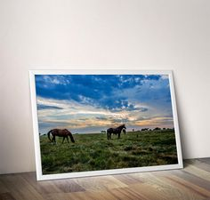 Horse Photography | Equine Photography | Kansas Sunset | Horses grazing in Beautiful Sunset Sky | Horse Fine Art | Horse print by TracieCarrigan on Etsy