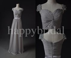 Long Gray Bridesmaid Dresses Short Sleeves Party by Happybridal, $102.00