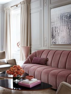 The sofa serves as the focal point and the main source of texture in this design. There is also some texture in the wall paneling, which makes the design more decorative and elegant.