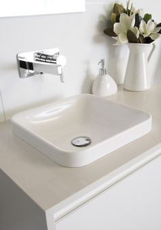 Truth Semi-Inset Basin | Architectural Designer Products   Gloss White solid surface basin, also available in Matte White   bathroom sink  white sink basin  chrome tapware chrome tap  chrome faucet  wall basin set Inset Basin, White Sink, Basins, Solid Surface, White Bathroom, Faucet, Small Spaces, Architecture Design, Chrome